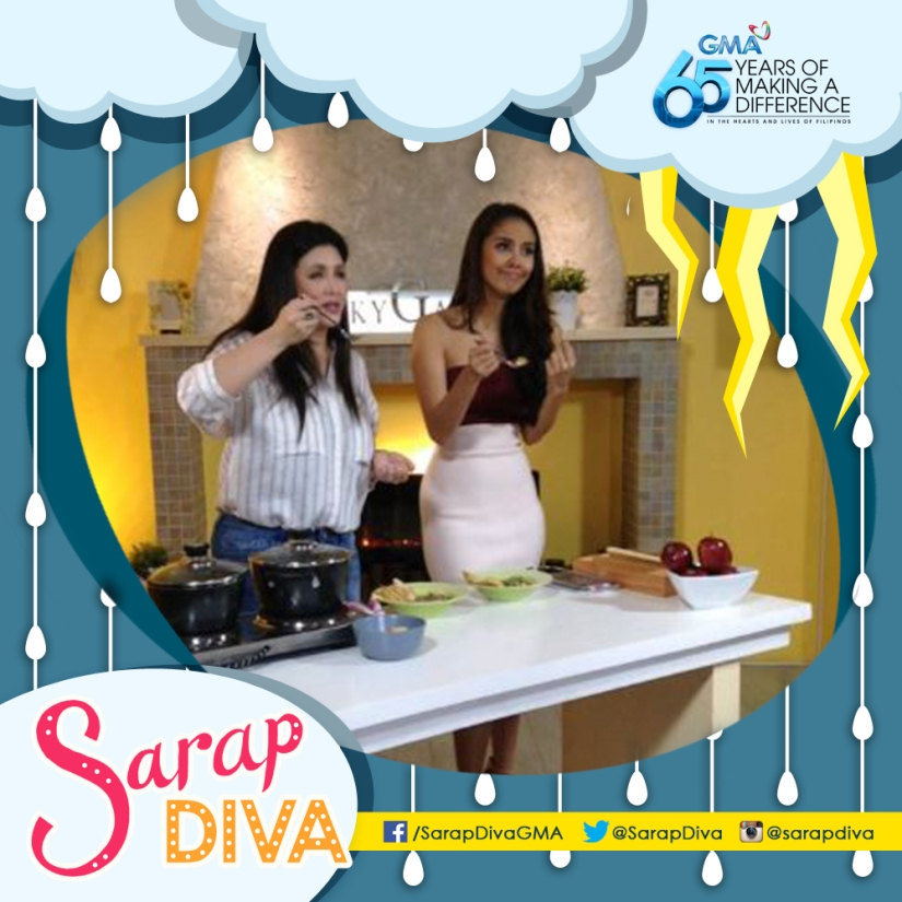 Cooking Diva Regine Velasquez-Alcasid prepares a soup-based recipe with Megan Young